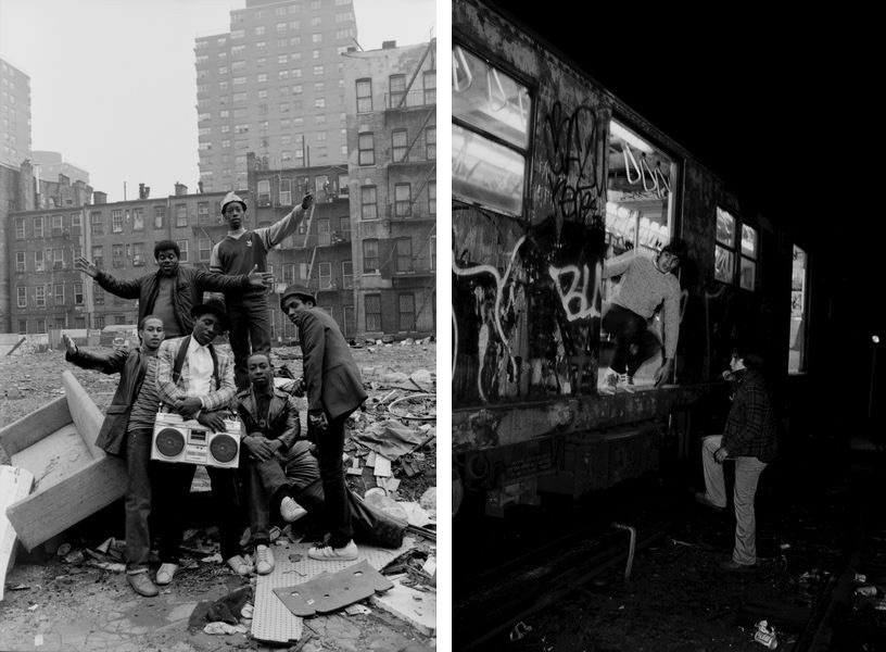 Henry Chalfant, DJAY KSlay and crew, 102nd St. East Harlem, NY 1983, Mare and Pade in the New Lots train yard, East New York, NY. 1981