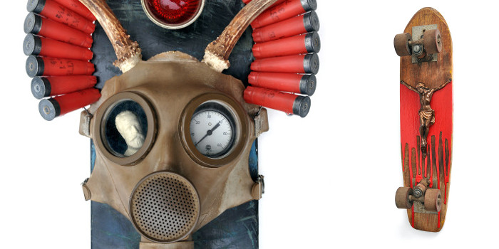 Left Dan Levin - Oh Say Can You Breathe, 2015, Right Dan Levin - Lord of Dogtown No.2, 2015