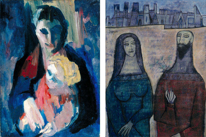 Left David Bomberg - The Artist's Wife and Baby, 1937 Right F.N. Souza - Two Saints in a Landscape, 1961
