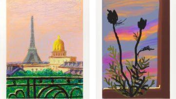 Left David Hockney - Early Morning Right David Hockney - Eiffel Tower by Day