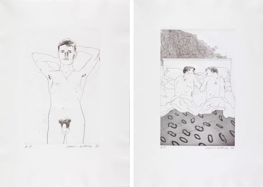 David Hockney - In an Old Book, from Illustrations for Fourteen Poems by C.P. Cavafy, 1966 - 1967, Two Boys, from Illustrations for Fourteen Poems by C.P. Cavafy, 1966 - 1967