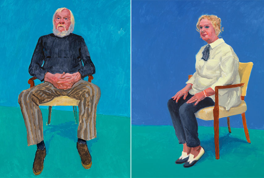 Left: David Hockney RA - John Baldessari, 13th, 16th December, 2013 / Right: David Hockney RA - Celia Birtwell, 31st August, 1st, 2nd September, 2015. Acrylic on canvas, 121.92 x 91.44 cm. © David Hockney, Photo credit: Richard Schmidt