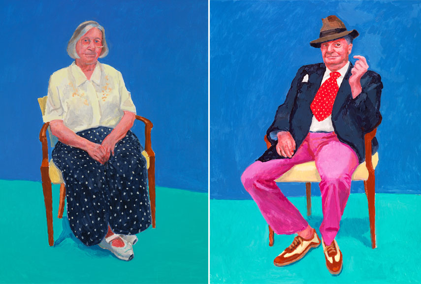 Left: David Hockney RA - Margaret Hockney, 14th, 15th, 16th August, 2015 / Right: David Hockney RA - Barry Humphries, 26th, 27th, 28th March, 2015. Acrylic on canvas, 121.92 x 91.44 cm. © David Hockney, Photo credit: Richard Schmidt