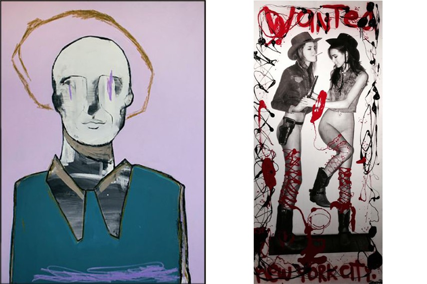 Left: David King Reuben - Angel Who Rules Over Monday, 2014 / Right: Harif Guzman - Wanted, 2014
