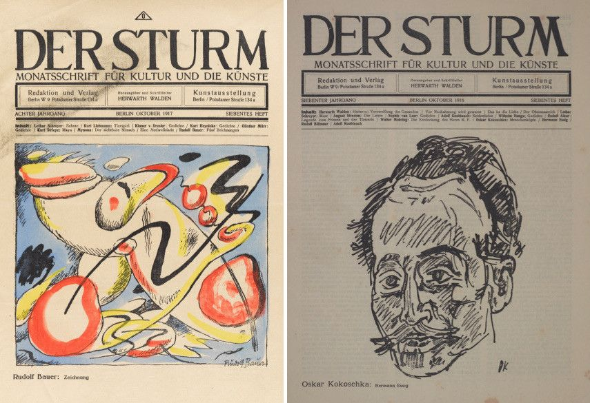 Der Sturm cover of Volume 8, Issue 7 (October 1917) / Der Sturm cover of Volume 7, Issue 7, illustration by Oskar Kokoschka (October 1916)