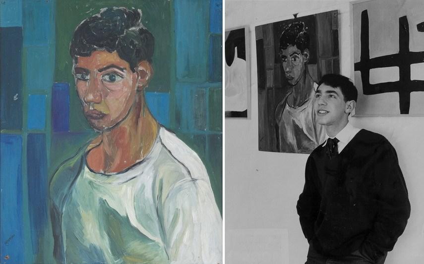 Left Derek Jarman - Self portrait Right Derek Jarman with his self portrait