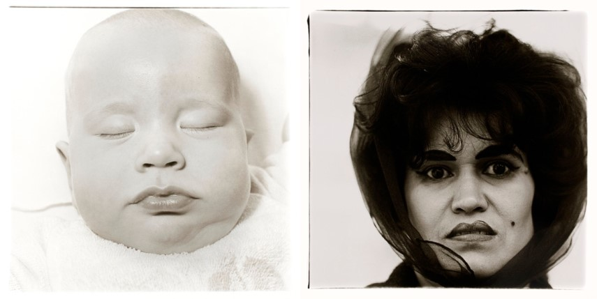 Left Diane Arbus - A very young baby Right Diane Arbus - Pureto Rican woman with a beauty mark