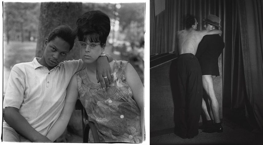 Diane Arbus - A young man and his pregnant wife in Washington Square Park, N.Y.C. 1965, 1965, Brassaï - Young couple wearing a two-in-one suit at the Bal de la Montagne Sainte-Genevieve, c. 1931