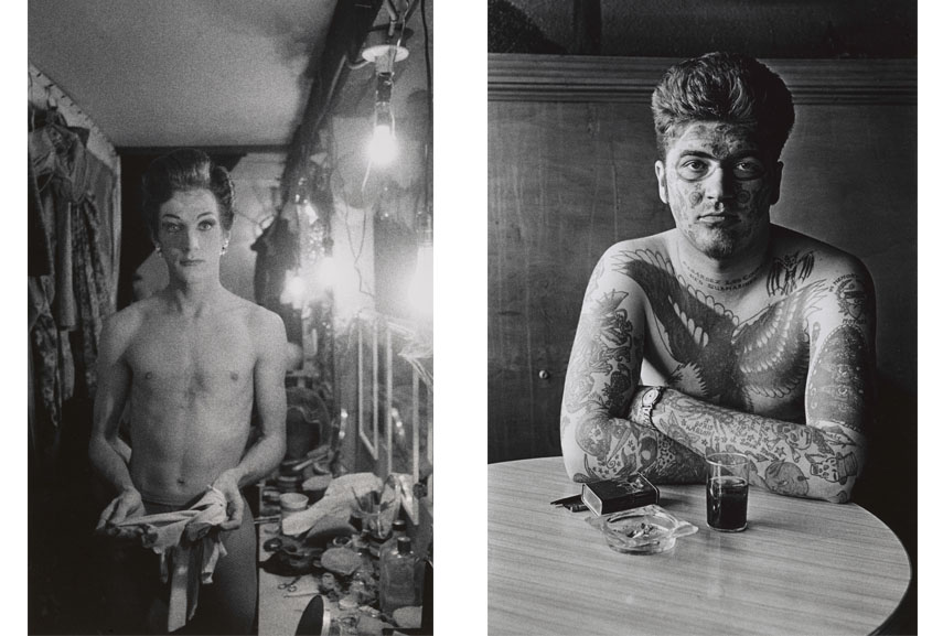 Left Diane Arbus, Female impersonator holding long gloves, Hempstead, L.I. 1959 Right Diane Arbus, Jack Dracula at a bar, New London, Conn. 1961