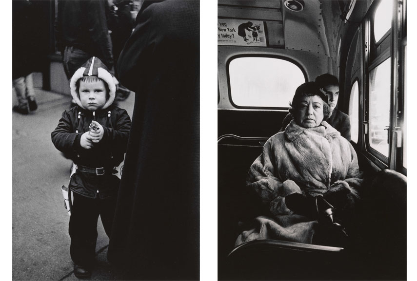 Left Diane Arbus, Kid in a hooded jacket aiming a gun, N.Y.C. 1957 Right Diane Arbus, Lady on a bus, N.Y.C. 1957