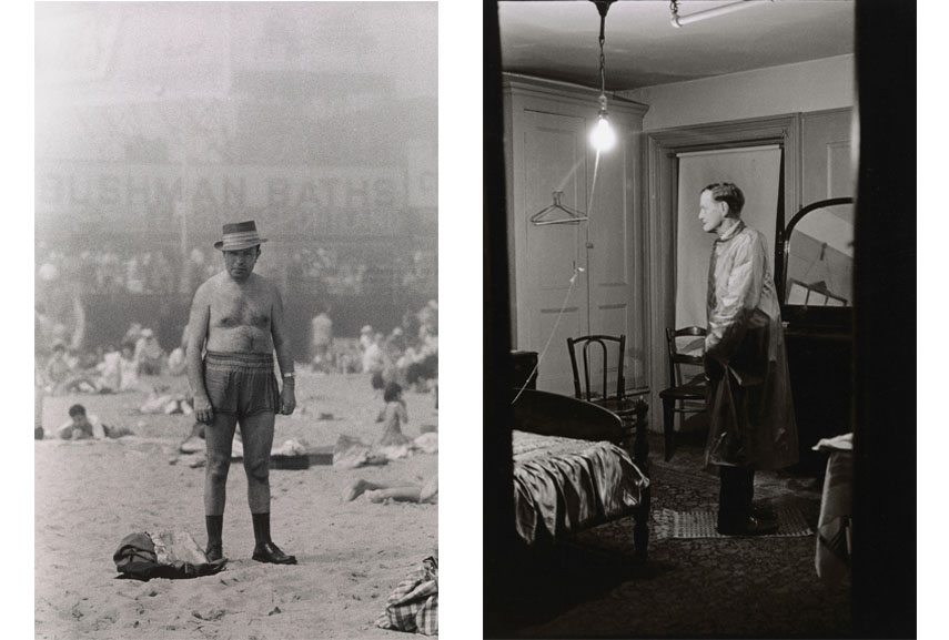 Left Diane Arbus, Man in hat, trunks, socks and shoes, Coney Island, N.Y. 1960 Right Diane Arbus, The Backwards Man in his hotel room, N.Y.C. 1961