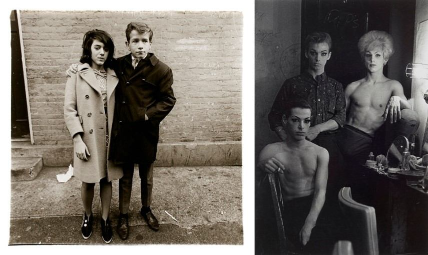 Left Diane Arbus - Teenage couple on Hudson Street Right Diane Arbus - Three female impersonators