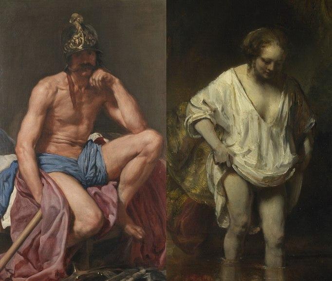 Left Diego Rodriguez de Silva Y Velazquez – Mars Rembrandt Harmenzoon Van Rijn - A Woman bathing in a Stream