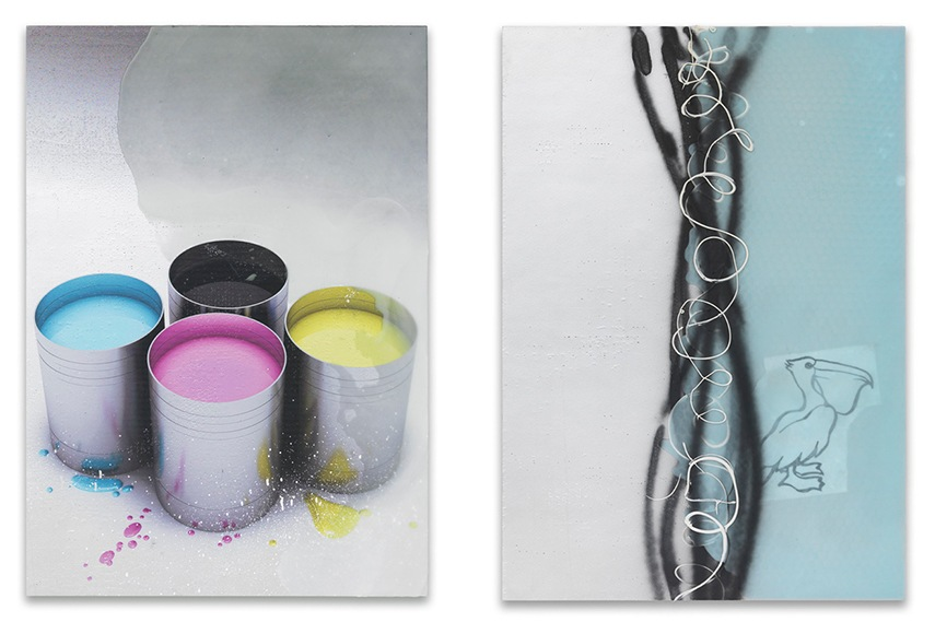 Left: Dirk Skreber - Untitled, 2015 / Right: Dirk Skreber - Sonne, Saft Und Pelikan, 2015