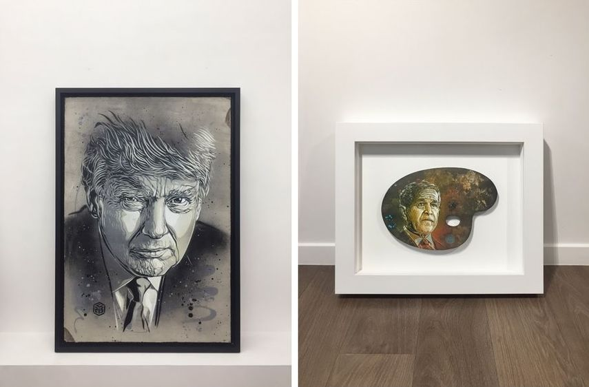 The piece Donald Trump from 2017 resembles his london works
