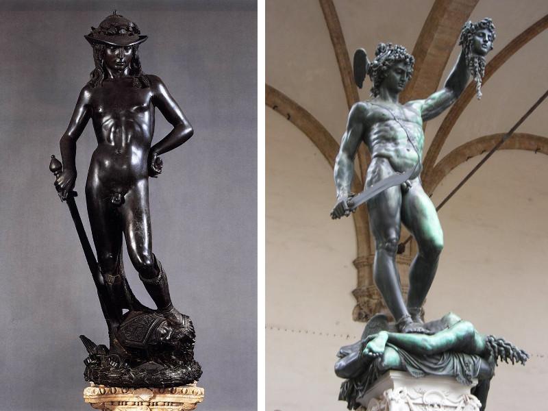 Donatello - David (1428) / Benvenuto Cellini - Perseus, 16th C