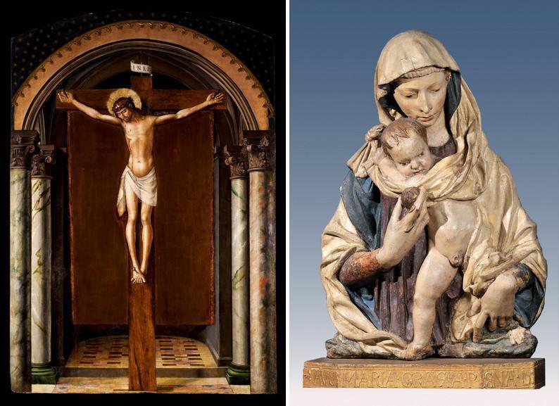 Left Donatello - Virgin of the Pomegranate Right Pedro Berruguete - Christ on the Cross