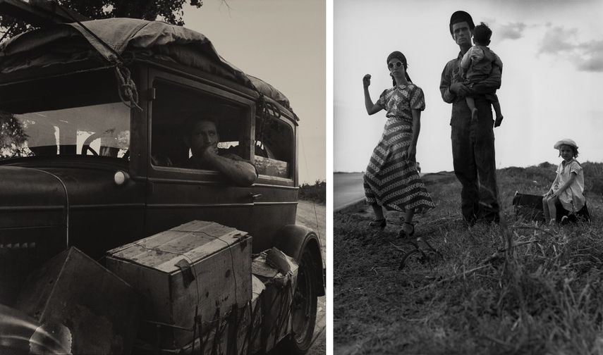 Cars on the Road, 1936, Family with children, Oklahoma, 1938