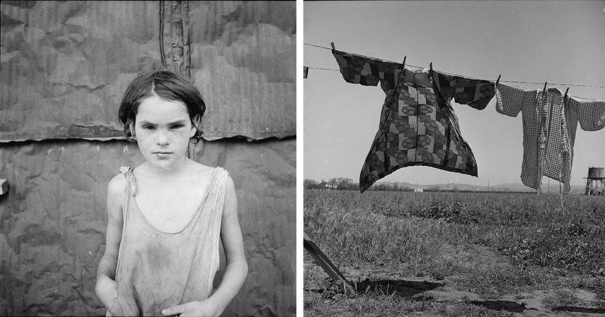 Damaged Child, Shacktown, Elm Grove, Oklahoma, 1936, Jour de lessive, quarante-huit heures avant l'évacuation, camp 1942