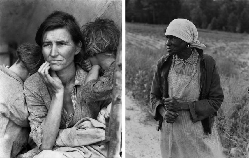 Migrant Mother and her children ( migrant family ) in a camp in Nipomo, California, 1936, Ancienne esclave à la longue mémoire, Alabama, 1938 for Farm Security Administration