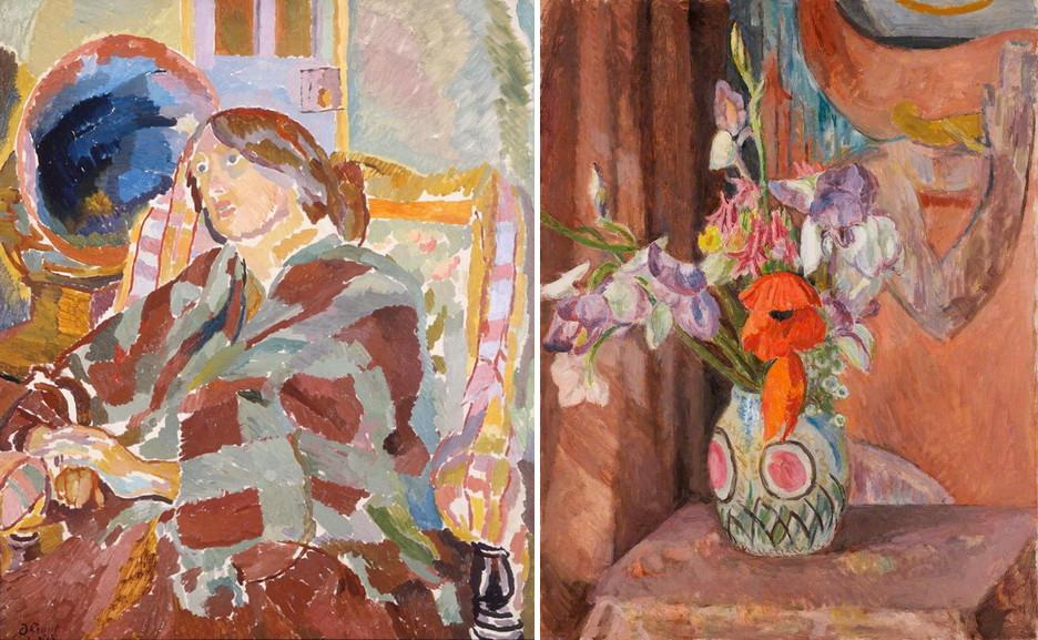Left Duncan Grant - Portrait of Vanessa Bell Right Vanessa Bell - Flowers