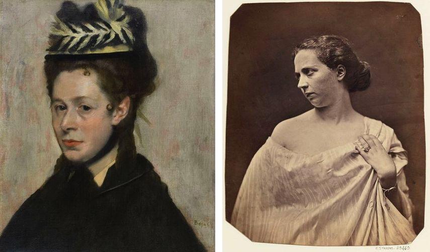 Impressionist Edgar Degas - Head of a Woman, c. 1887-1890, Félix Nadar - Madame Audouard, 1854-1870