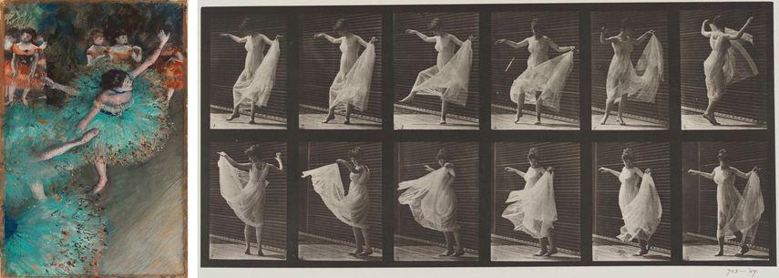 Edgar Degas - Swaying Dancer (Dancer in Green), 1877-79, the Impressionism movement, Eadweard Muybridge - Woman Dancing, in Animal Locomotion, plate 188
