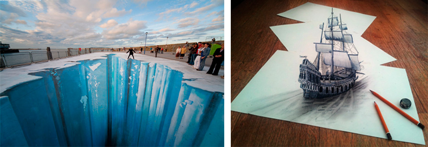 Examples of optical illusion art in some of the works of contemporary artist Edgar Mueller