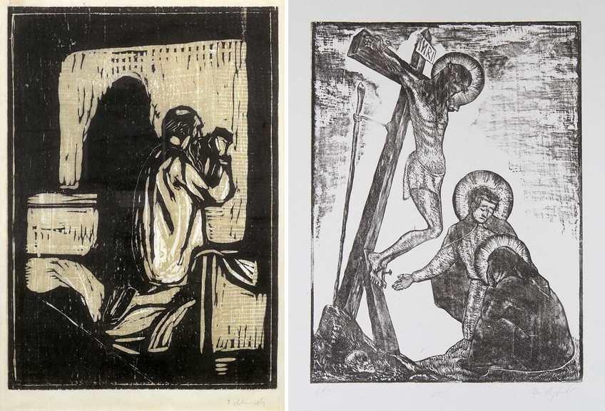 Left Edvard Munch - Old Man Praying Right Sigfrido Bartolini - Via Crucis