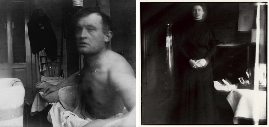 Self-Portrait 'à la Marat,' Beside a Bathtub at Dr. Jacobson's Clinic, 1908-09 / Right: Edvard Munch - Nurse in Black, Jacobson's Clinic,1908-09, Nurse in Black, Jacobson's Clinic,1908-09