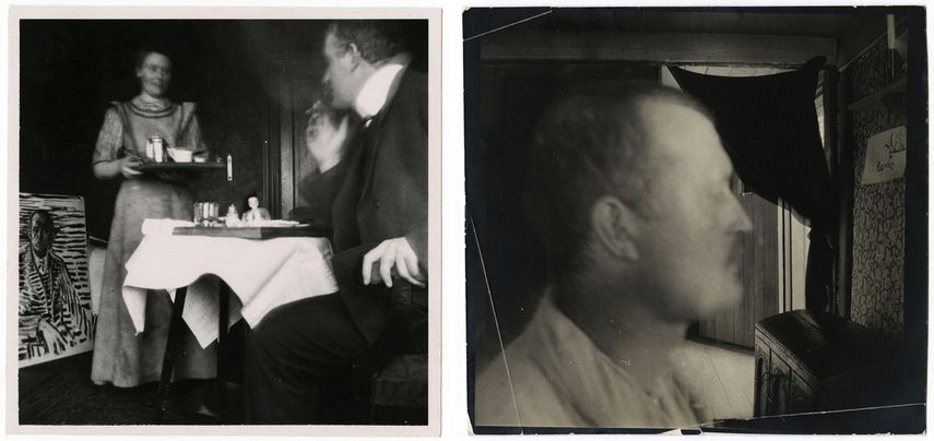 Self-Portrait at the Breakfast Table at Dr. Jacobson's Clinic, 1908-1909, Self-Portrait in Profile Indoors in Åsgårdstrand, ca. 1904