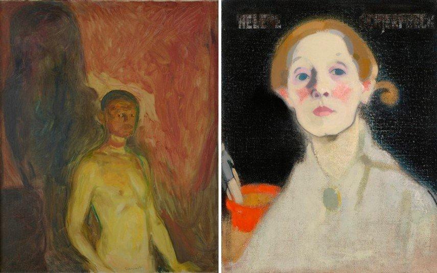 Left Edvard Munch - Self-Portrait in Hell Right Helene Schjerfbeck - Self-Portrait, Black Background