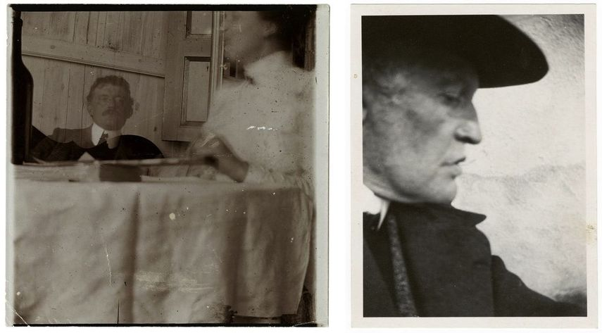 Self-Portrait in a Hat in Profile Facing Right,1930, Self-Portrait with Housekeeper in Warnemünde, 1907