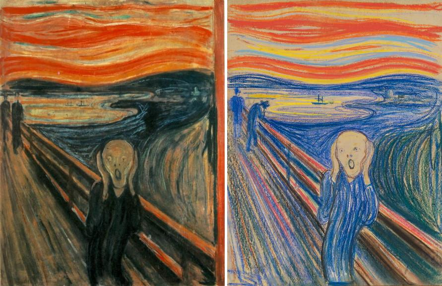 Left Edvard Munch - The Scream painting Right Edvard Munch - The Scream pastel
