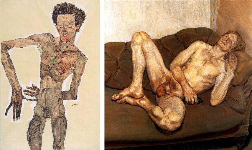 Egon Schiele - Grimassierendes Aktselbstbildnis, 1910, Lucian Freud - Naked Man with Rat, 1977