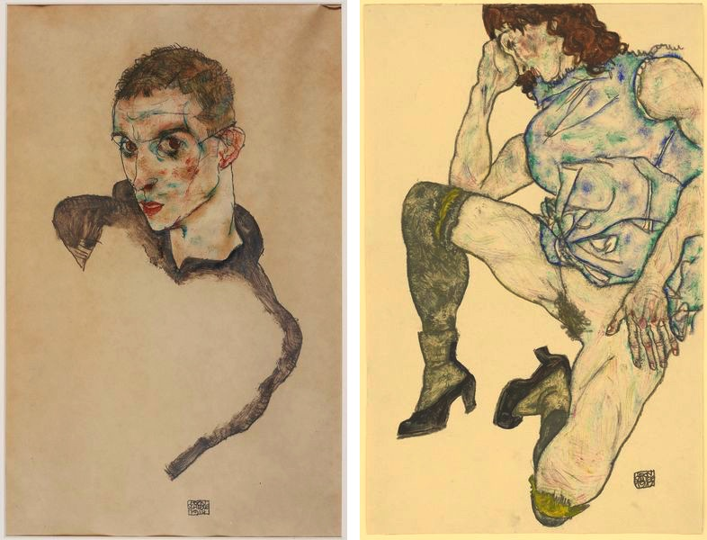 Egon Schiele - Self portrait, 1914, Squatting Girl, 1917