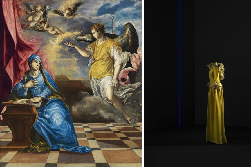 El Greco - The Annunciation, 1576, Evening gown, silk organza