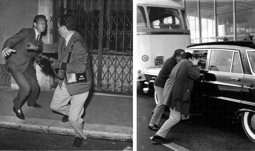 Elio Sorci - Walter Chiari e Tazio Secchiaroli Roma, 1958, Agenzia Dufoto - Fotografi alla stazione Termini assaltano l'auto di Soraya Roma, n.d.