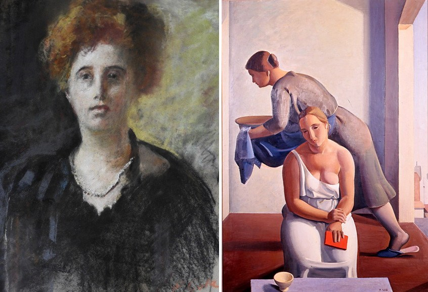 Left Emilio Gola - Portrait of Margherita Sarfatti Right Right Mario Tozzi - Mattutino