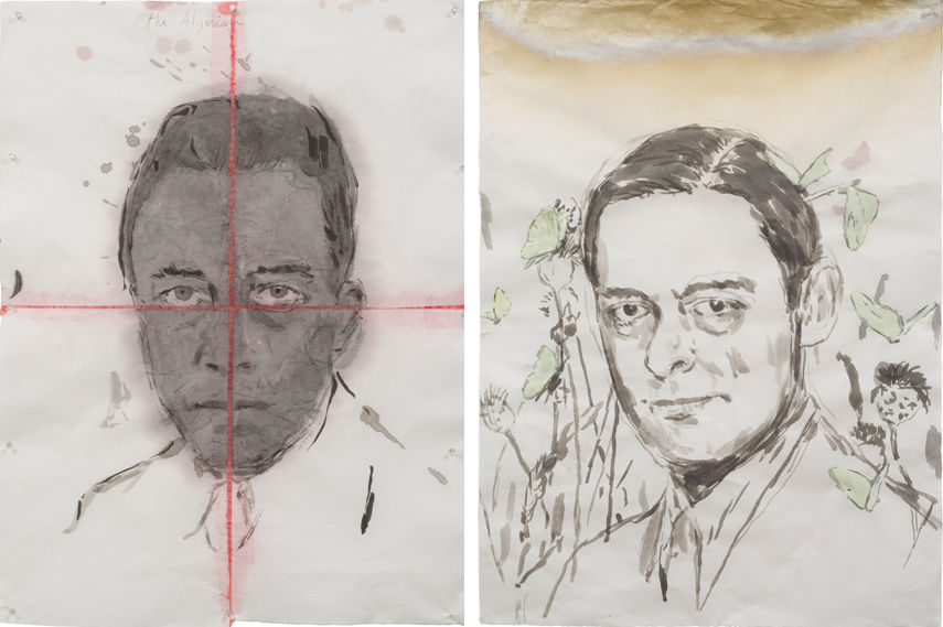 Left Enrique Martinez Celaya - The Fairy Tale of the Visitor, 2016 and Enrique Martinez Celaya - The Knight of Pollen, 2016