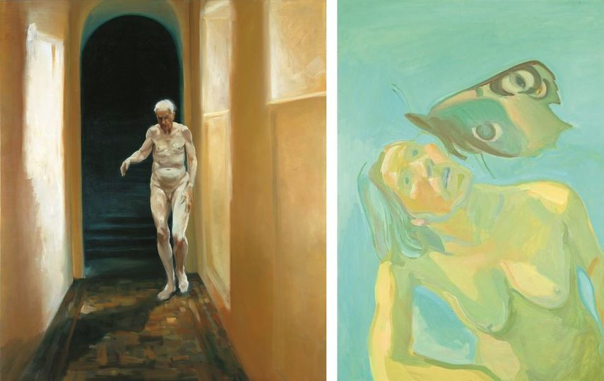 Eric Fischl, Frailty is a Moment of Self Reflection, 1996, Maria Lassnig, Butterflly, 1975