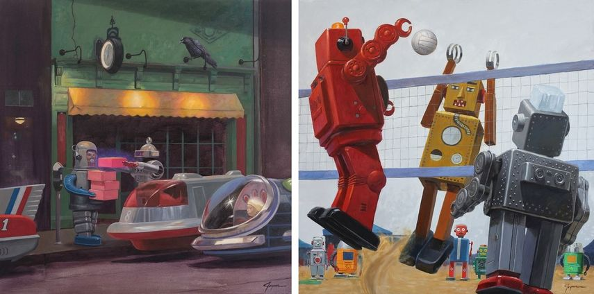 joyner's tin robot and donuts prints and canvas were published in a page book