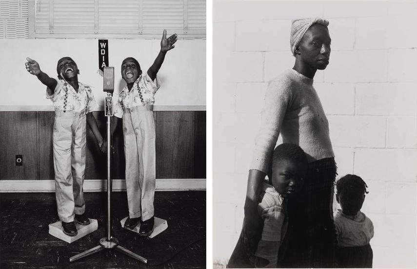 Ernest C. Withers - Twins at WDIA, Memphis, about 1948, Consuelo Kanaga - She is a Tree of Life to Them, 1950