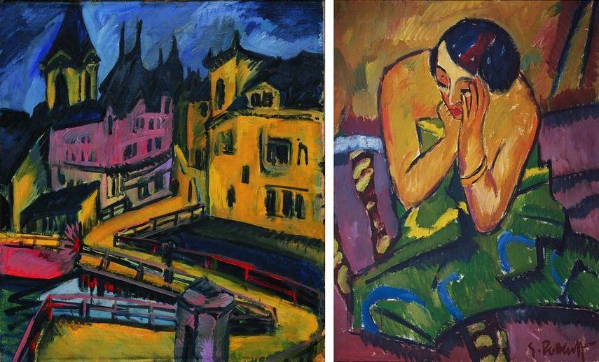 Ernst Ludwig Kirchner - Pfortensteg in Chemnitz, 1910, Karl Schmidt-Rottluff - Sinnende Frau, 1912