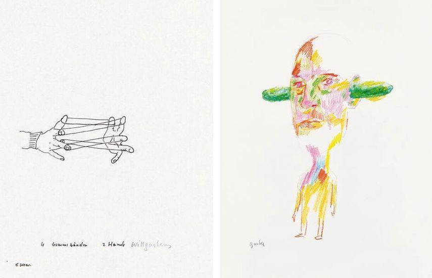 4 elastic bands 2 hands Wittgenstein, 1990, Cucumber, 2017