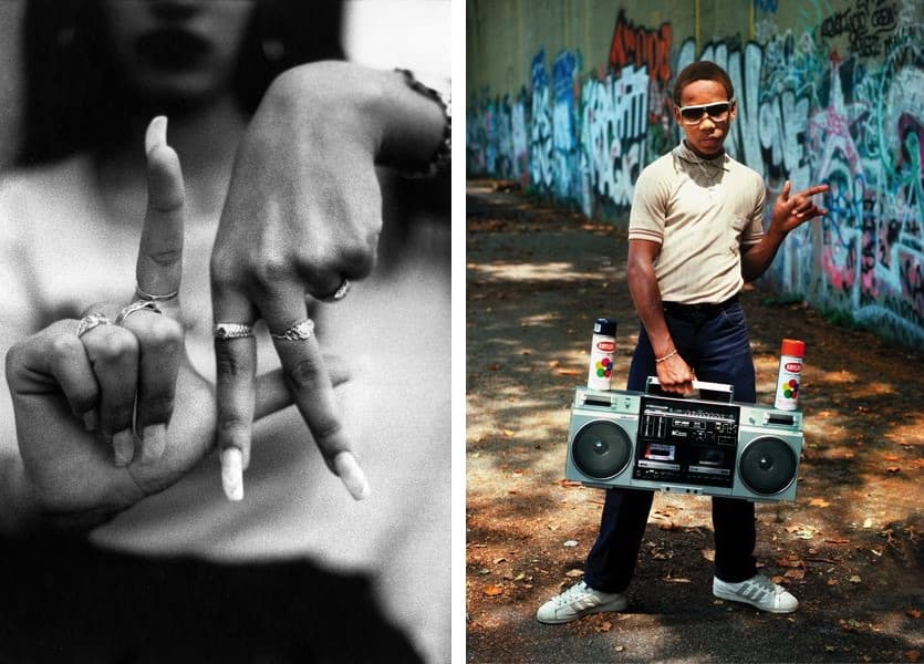 Estevan Oriol - L.A. Fingers, 1995, Martha Cooper - Lil' Crazy Legs during shoot for Wild Style RIVERSIDE PARK, NY, 1983