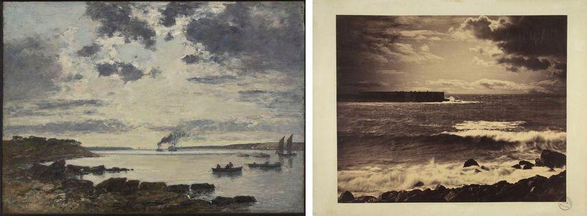 Eugène Boudin - Harbor of Brest, 1870, the Impressionism movement, Gustave Le Gray - The Great Wave, Sète, c. 1856-1857