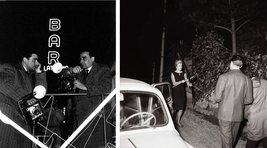 Ezio Vitale - Attesa dei Fotografi in via Sistina Roma, 1958, Marcello Geppetti - Anita Ekberg fuori dalla sua villa affronta i fotografi con arco e frecce Roma, 20 ottobre 1960