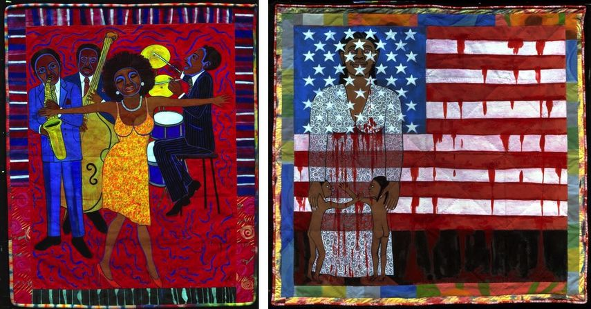 Faith Ringgold - Jazz Stories: Mama Can Sing, Papa Can Blow #1: Somebody Stole My Broken Heart, 2004, The Flag is Bleeding # 2 (American Collection #6), 1997