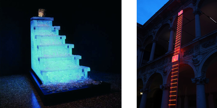 Left - Federica Marangoni - Stairway to Heaven - 1998 - Right - Federica Marangoni - Go Up For Architecture - 2013 - photo credits - artist